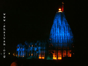 Somnathji Temple in blue projected light